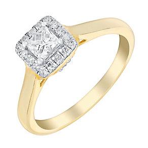 9ct Yellow Gold Half Carat Princess Cut Diamond Halo Ring - Product number 3021432