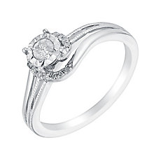 9ct White Gold Illusion Set Diamond Twist Solitaire Ring - Product number 3021971