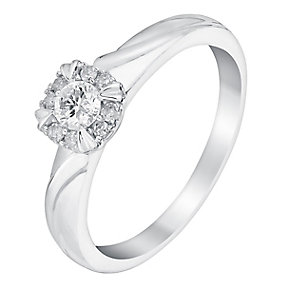9ct White Gold 1/5 Carat Diamond Halo Solitaire Ring - Product number 3022110