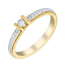 9ct Yellow Gold Bar Set Diamond Solitaire Ring - Product number 3023974