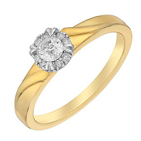 9ct Yellow Gold 1/5 Carat Diamond Halo Solitaire Ring - Product number 3024598