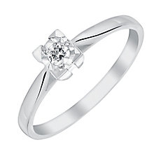 9ct White Gold Square Illusion Set Diamond Solitaire Ring - Product number 3025055