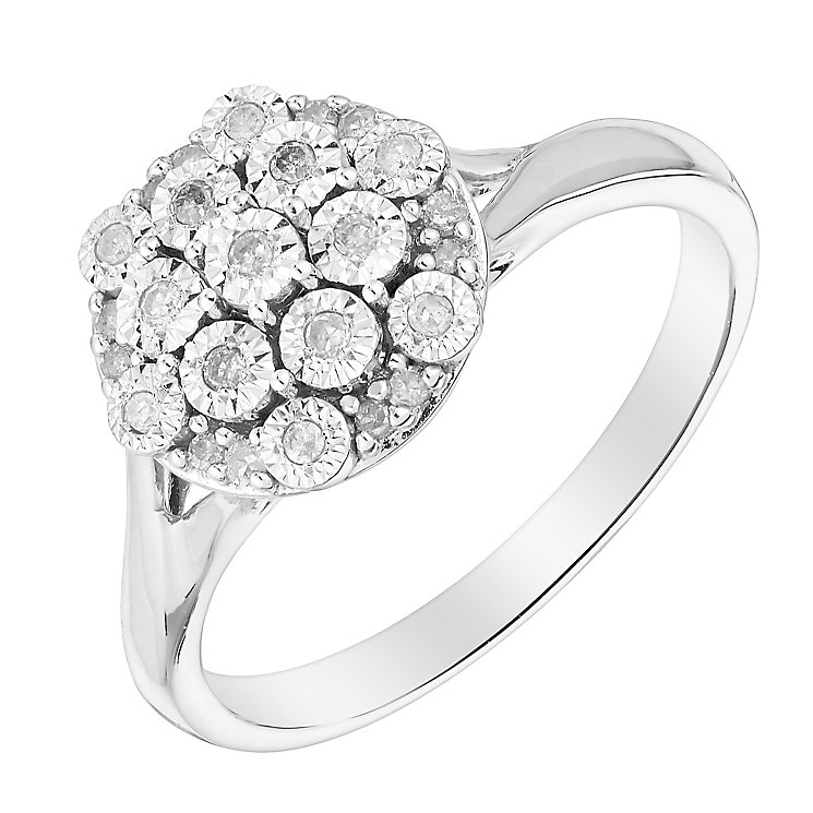 9ct White Gold Flower Shaped Diamond Illusion Cluster Ring - Product number 3025357