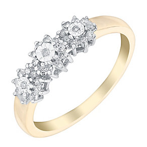 9ct Yellow Gold Flower Trio Diamond Cluster Ring - Product number 3025632