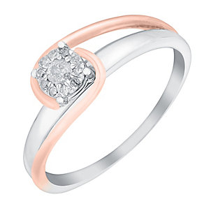 9ct White & Rose Gold Twist Round Diamond Cluster Ring - Product number 3025772