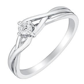 9ct White Gold Intricate Lattice Design Diamond Ring - Product number 3026051