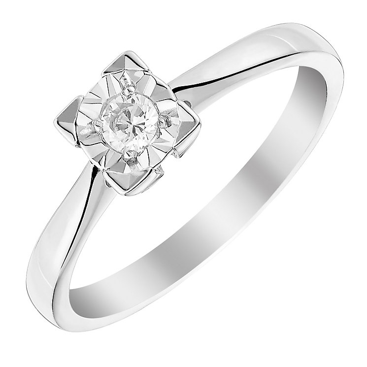 9ct White Gold Square Illusion Set Diamond Solitaire Ring - Product number 3026310