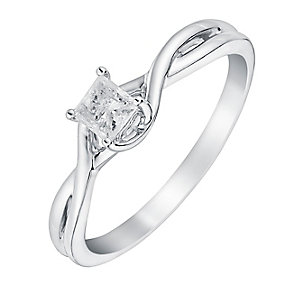 9ct White Gold 1/4 Carat Princess Cut Diamond Twist Ring - Product number 3026485