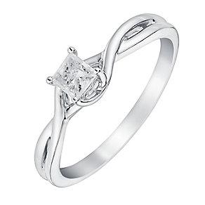 9ct White Gold 1/4 Carat Princess Cut Diamond Twist Ring - Product number 3026485
