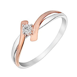 9ct White & Rose Gold Twist Illusion Diamond Ring - Product number 3026795
