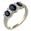 9ct Gold Sapphire and Diamond Ring - Product number 3027112