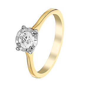9ct Yellow & White Gold 1/3 Carat Diamond Solitaire Ring - Product number 3027198