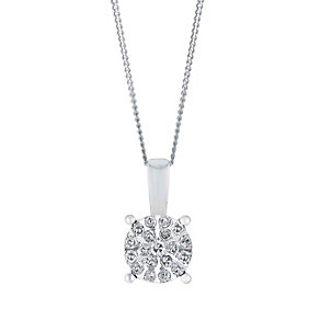 9ct White Gold Small Round Diamond Cluster Pendant - Product number 3028410