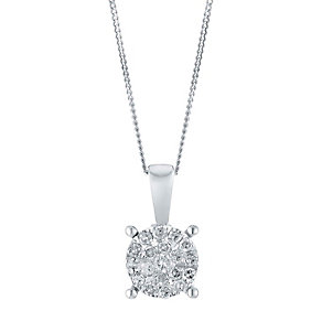9ct White Gold 0.10 Point Round Diamond Cluster Pendant - Product number 3028437
