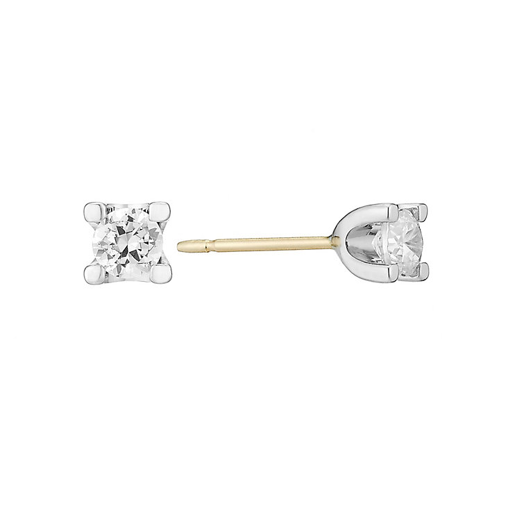 The Forever Diamond Two Colour Gold Diamond Stud Earrings - Product number 3028461