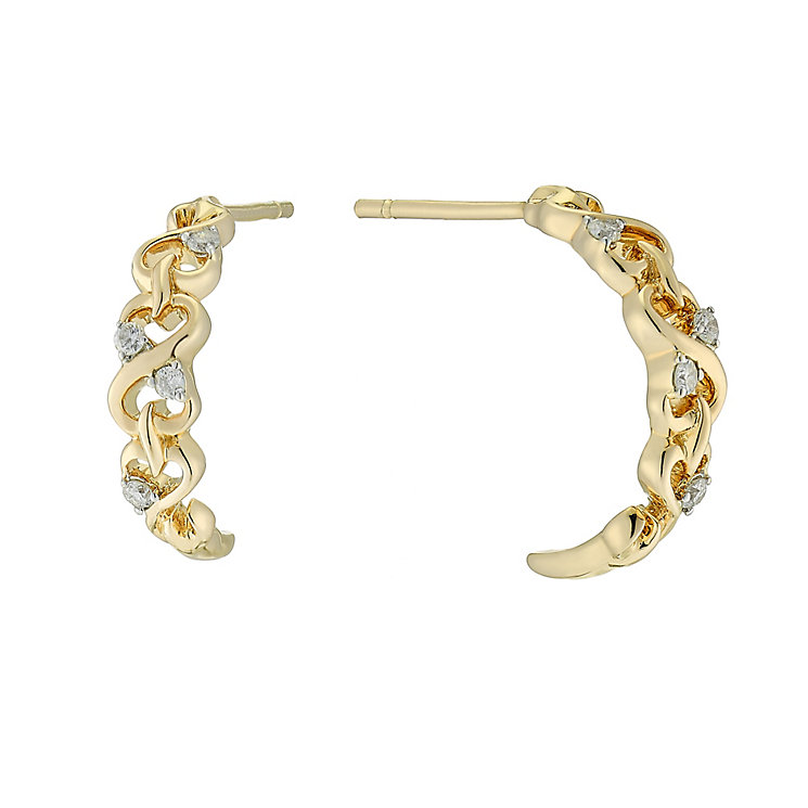 Open Hearts By Jane Seymour Yellow Gold & Diamond Earrings - Product number 3028488