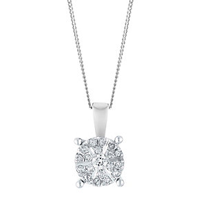 9ct White Gold 0.15 Point Round Diamond Cluster Pendant - Product number 3028496