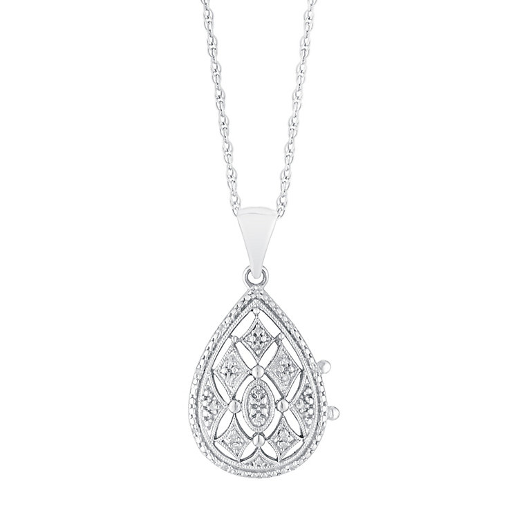 Sterling Silver & Diamond Cut Away Pear Shaped Locket - Product number 3028518