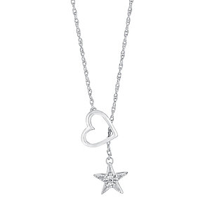 Silver & Diamond Layered Slider Heart & Star Pendant - Product number 3028526