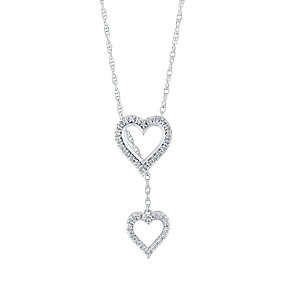 Silver & Diamond Layered Slider Double Heart Pendant - Product number 3028623