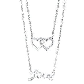 Sterling Silver & Diamond Layered Slider Love Hearts Pendant - Product number 3028690