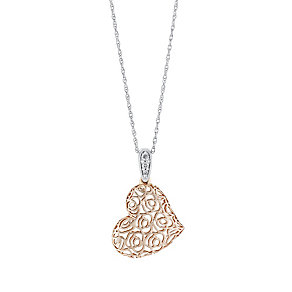 Silver & 9ct Yellow Gold Diamond Filigree Heart Pendant - Product number 3029565
