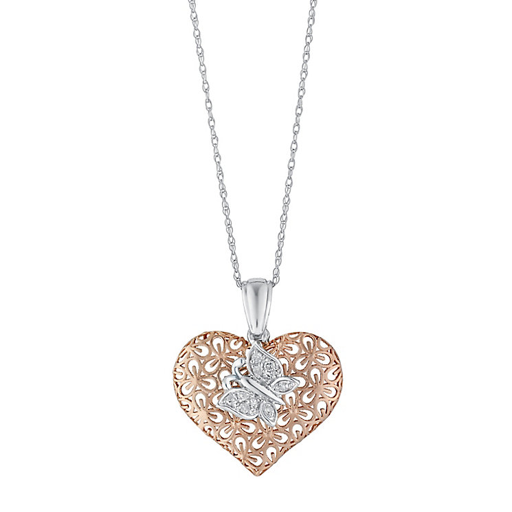 Silver & 9ct Rose Gold Diamond Heart & Butterfly Pendant - Product number 3029581