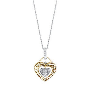 Silver & 9ct Yellow Gold Diamond Heart & Lock Pendant - Product number 3029611