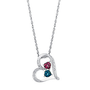 Candy Hearts Silver Diamond Garnet & Blue Topaz Pendant - Product number 3030113