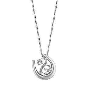 Open Hearts By Jane Seymour Silver Diamond Horseshoe Pendant - Product number 3030326