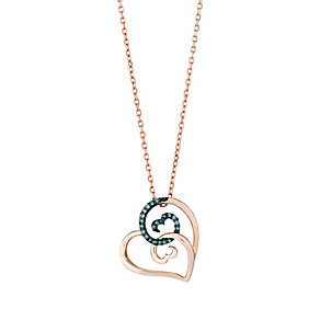 Open Hearts Waves Rose Gold & Treated Blue Diamond Pendant - Product number 3030334