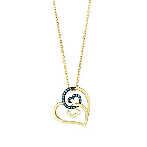 Open Hearts Waves Yellow Gold & Treated Blue Diamond Pendant - Product number 3030342