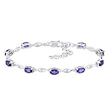 Sterling Silver Diamond & Amethyst Crossover Bracelet - Product number 3030628