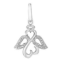 Open Hearts Angels By Jane Seymour Silver & Diamond Charm - Product number 3030636