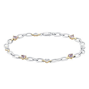 Silver & 9ct Yellow Gold Diamond & Amethyst Heart Bracelet - Product number 3030644