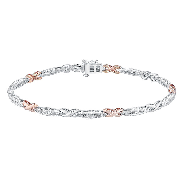 Silver & 9ct Rose Gold Diamond Kiss Design Bracelet - Product number 3030857
