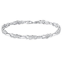 Sterling Silver & Diamond Double Kiss Crossover Bracelet - Product number 3030865