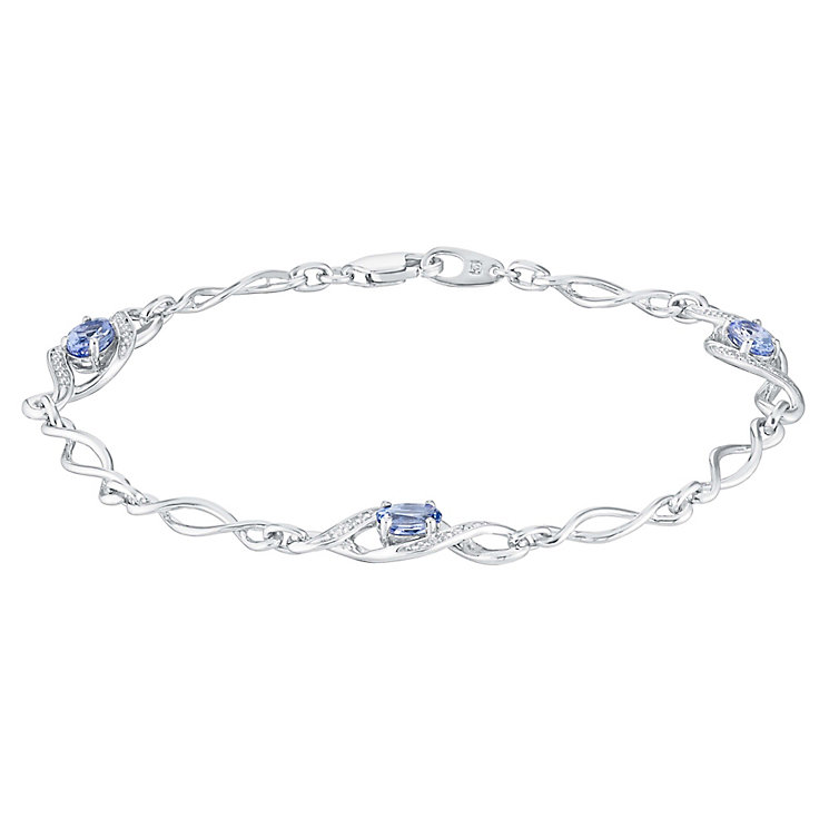 Sterling Silver Diamond & Tanzanite Twist Bracelet - Product number 3030903