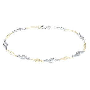 Silver & 9ct Yellow Gold Diamond Swirl Design Bracelet - Product number 3030938