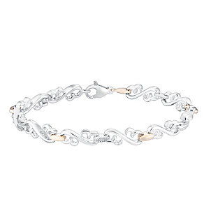 Open Hearts By Jane Seymour Silver, Gold & Diamond Bracelet - Product number 3030954
