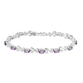 Open Hearts By Jane Seymour Diamond & Amethyst Bracelet - Product number 3030962