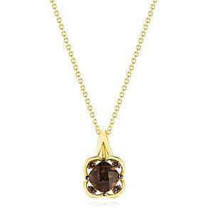 14ct Honey Gold Chocolate Quartz & Chocolate Diamond Pendant - Product number 3031047