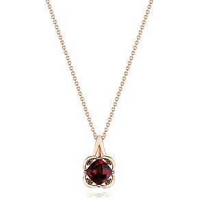 14ct Strawberry Gold Raspberry Rhodalite & Diamond Pendant - Product number 3031063