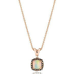 14ct Strawberry Gold Chocolate Opal & Diamond Pendant - Product number 3031128