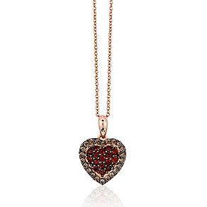 14ct Strawberry Gold Raspberry Rhodalite & Diamond Pendant - Product number 3031136