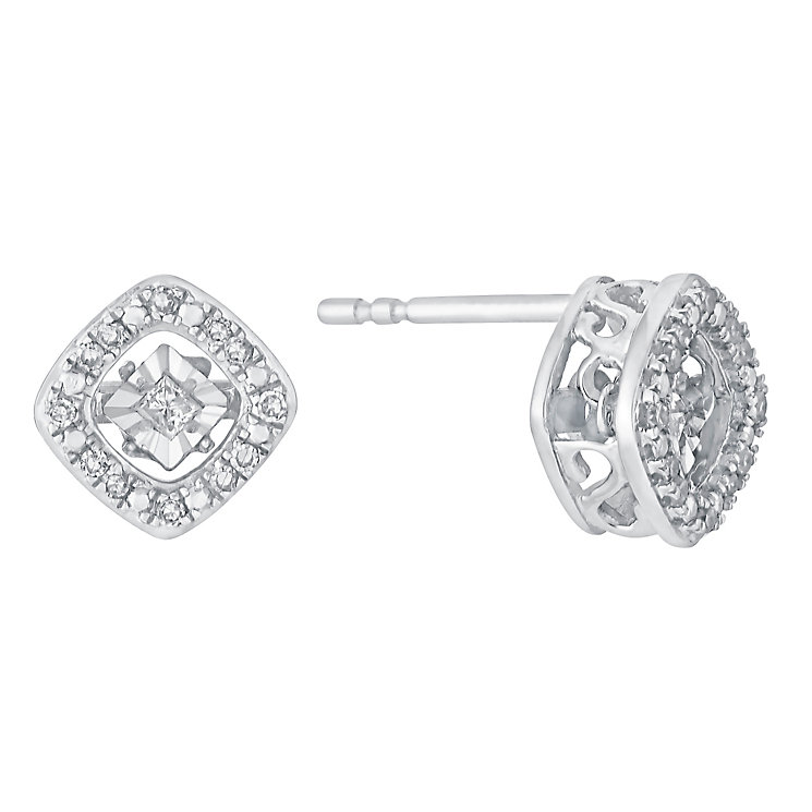 Diamonds In Rhythm Illusion Set Diamond Square Earrings - Product number 3031187