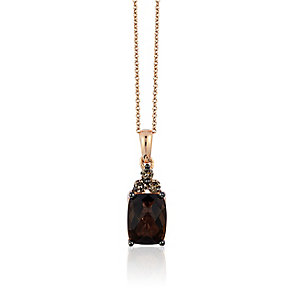 14ct Strawberry Gold Chocolate Quartz & Diamond Pendant - Product number 3031195