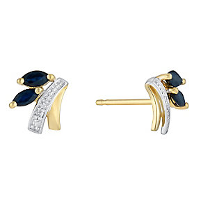 9ct Yellow Gold Diamond & Marquis Sapphire Stud Earrings - Product number 3031209