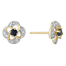 9ct Yellow Gold Diamond & Sapphire Flower Stud Earrings - Product number 3031217