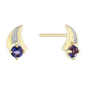 9ct Yellow Gold Diamond & Amethyst Stud Earrings - Product number 3031241